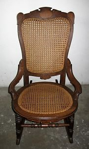 Antique 19th Century Victorian and Civil War Era 1800s Wood Cane Rocking Chair