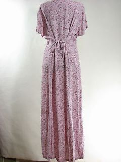 April Cornell Embroidered Tie Back Button Front Long Rayon Dress Sz M