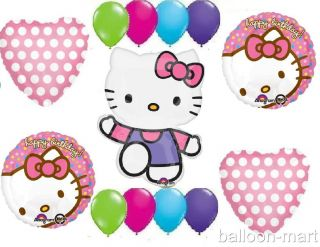 Hello Kitty Balloons Set Birthday Party Supplies Polka Dot Heart Girls 1st 2nd