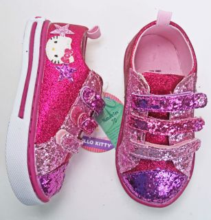 Hello Kitty Toddler Girls Velcro Athletic Shoes Pink Glitter Size 7M