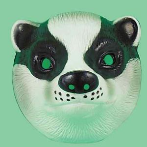 12 x Plastic Badger Farm Animal Face Mask Fancydress