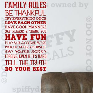 Family Rules in This House Have Fun Love Quote Vinyl Wall Decal Decor Sticker