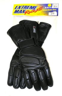 Extreme Max Racing Winter Sports Men's Gloves Black Leather 113695