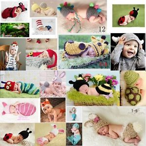 Baby Girls Boy Newborn 24M Knit Crochet Clothes Photo Prop Hat Cap Outfits Set