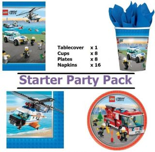 Lego City Party Pack for 8 Guests Includes Tablewear Decorations
