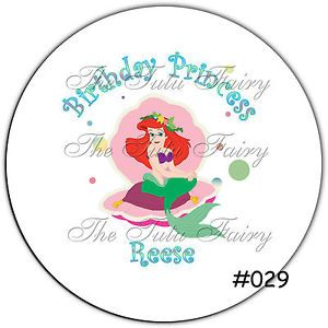 Little Mermaid Birthday Girl Custom Personalized Name Stickers Label Party Favor