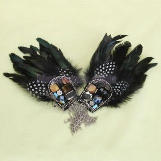 2X Vintage Black Feather Colorful Rhinestone Tassel Brooch Pin Alligator Clip