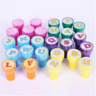 4X 26pcs Assorted Self Inking Stamp Plastic Letter DIY Fun Craft Party Favors