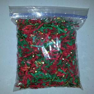 Christmas Red Green Gold Gift Basket Shred Crinkle Paper Bedding Grass Filler