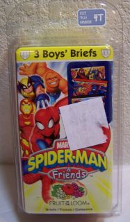 Fruit of The Loom Marvel Spider Man Friends 3 Pack Boy's Briefs Underwear 4T