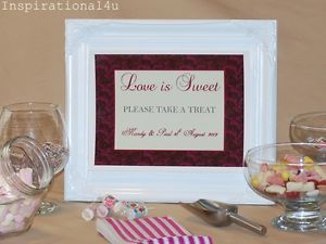 Burgundy Cream Personalised Wedding Party Candy Buffet Table Sweet Bar Sign