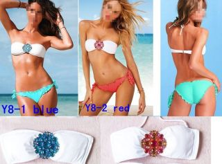 2 Pcs Sexy Women's Girl Padded Beach Bikini Swimsuit Swimwear Set Rhinestones