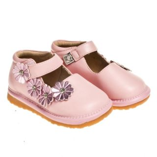 Little Blue Lamb Pink Mary Janes Leather Squeaky Shoes Baby Toddler Girl 3 to 7