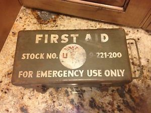 WWII 2 Vintage First Aid Kit US Army Medical Box 9 221 200 for Jeep