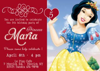 Disney Princess Snow White Birthday Party Invitation You Print