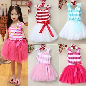 Baby Girls Princess Sundress Skirt Kids Stripe Tutu Puffy Dress Clothes 2 7Year