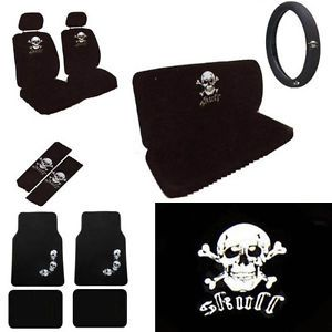 15pc Set Seat Cover White Skull Crossbone Skeleton Floor Mat Wheel Belt Head Pad