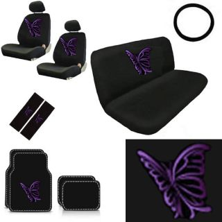 15pc Set Seat Covers Purple Butterfly Butterflies Floor Mat Wheel Belt Head Pads