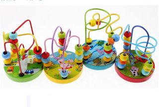 Children Baby Wooden Toy Mini Around Beads Wire Maze Colorful Educational Game