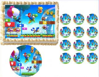 Super Mario Luigi Yoshi Hearts Edible Cake Topper Frosting Sheet All Sizes