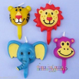 4 Jungle Safari Baby Animal Cake Candles Birthday Party Supplies Shower