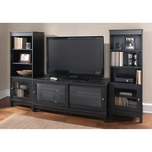 Black Entertainment Center Console Book Case Shelf Audio Living Room Furniture
