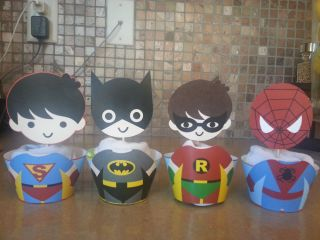 Super Heroes Cupcake Wrappers and Toppers Cupcake Liners Cupcake Supplies