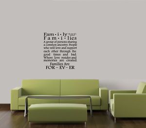 Family Definition Wall Art Quote Decal Vinyl Saying Home Decor Lettering