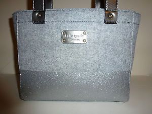 Kate Spade Quinn Frosted Felt Wool Dipped Heather Tote Shoulder Bag Gray