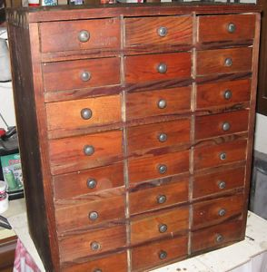 Primitive 24 Drawer Apothecary Chest Drawers Cabinet Parts Watchmaking Storage