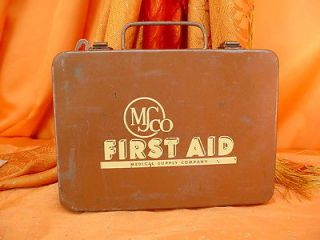 Great Vintage Military First Aid Kit Medical Supply Company Msco Metal Box