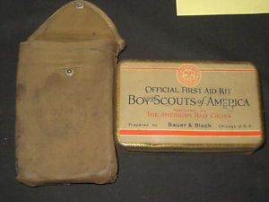 1928 Boy Scout Bauer Black Metal First Aid Kit Cover Contents Red Cross