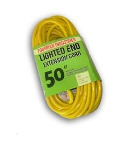New Contractor Grade Outdoor Extension Cord 12 Gauge 50 ft Lighted End Yellow