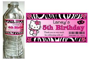 20 Hello Kitty Zebra Birthday Party Favors Water Bottle Labels
