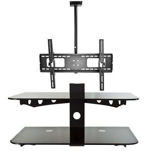 "Tilt TV Wall Mount Ceiling 32"" 60"" LCD LED Plasma Flat Screen 2 Tier DVD Stand"