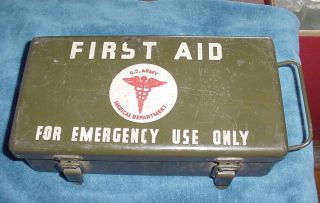 US Army Medical Department Metal Vehicle First Aid Kit Box w Contents
