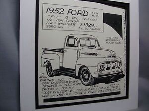 1952 Ford Pickup Truck Auto Pen Ink Hand Drawn Poster Automotive Museum