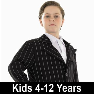 Child Gangster Suit Fancy Dress Mobster Costume 20s Bugsy Malone Kids Boys Male