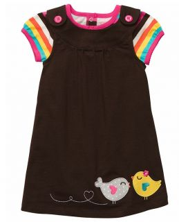 Carters Baby Girl Clothes Set Dress Bodysuit Brown Bird 6 9 12 18 24 Months