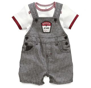Guess Designer Baby Boy Clothes Shortalls Top White Gray Red 3 6 Months