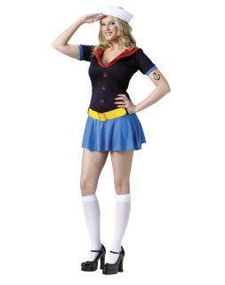 Popeye The Sailor Man Lady Sexy Adult Womens Costume Dress Mini Skirt Halloween
