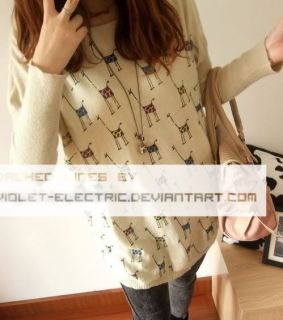 New Soft Womens Girls Sweater Dresses Knit Pullover Jumper Top Giraffe