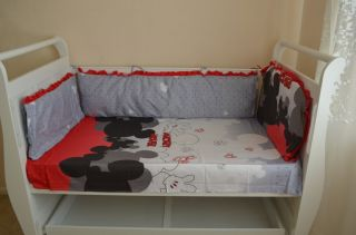 Baby Bedding Crib Cot Sets 7 PC Mickey Mouse Theme RRP $135