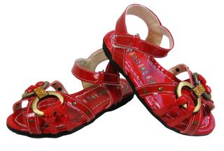 New Toddler Baby Girls Red Velcro Diamante Flats Holiday Open Sandals Size 5 6 7