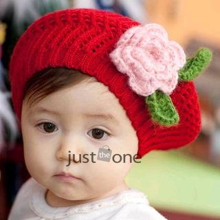 Cute Toddler Baby Girls Hand Knitted Beanie Flower Hat Crochet Beret Warm Winter