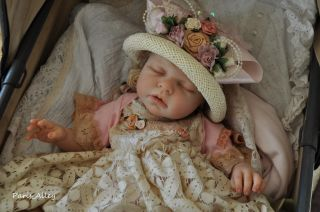 Country Rose French Lace Dress Hat 4 Reborn Baby Doll