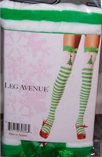 Sexy Elf Green White Striped Christmas Tree Thigh Highs