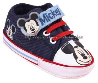 Baby Boy Mickey Mouse Crib Shoes Walking Sneakers Size 0 6 6 12 12 18 Months