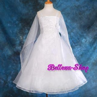 White Wedding Flower Girl Pageant Party Dress Sz 5 6