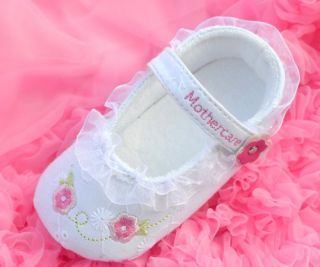 White Mary Jane Infant Soft Sole Kids Toddler Baby Girl Shoes Size 1 2 3